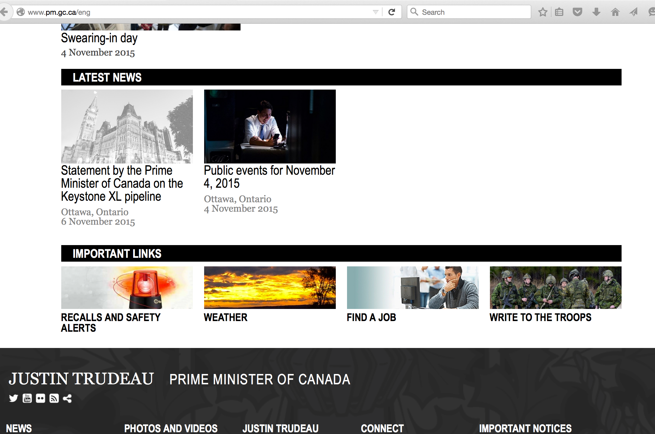 Home Page of the Prime Minister of Canada, November 8th, 2015