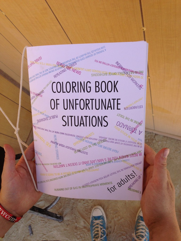 A colouring book of unfortunate situations.  Sounds interesting!