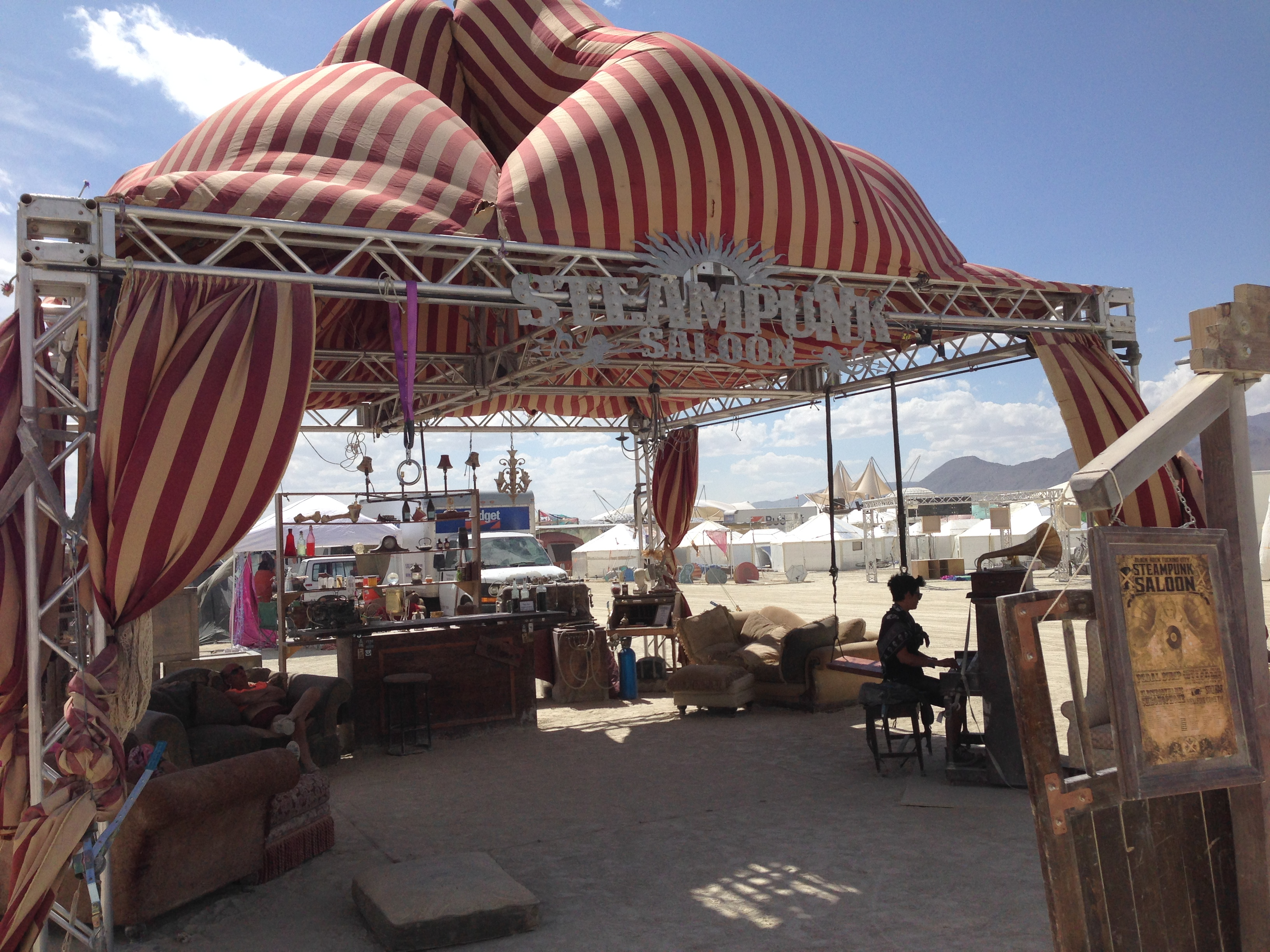 Steampunk Saloon!  (Tents like this are marvelous shade structures.)