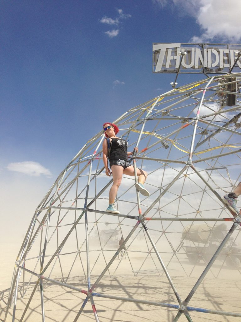 Having conquered the Thunderdome, S strikes a triumphant pose.