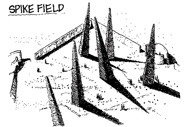 """'Spike field': An early idea from the US Department of Energy in the 1990s. The spikes and their shadows would communicate danger, as would warning signs bearing Edward Munch's 'The Scream' scattered across the site"" - http://www.ft.com/cms/s/2/db87c16c-4947-11e6-b387-64ab0a67014c.html"