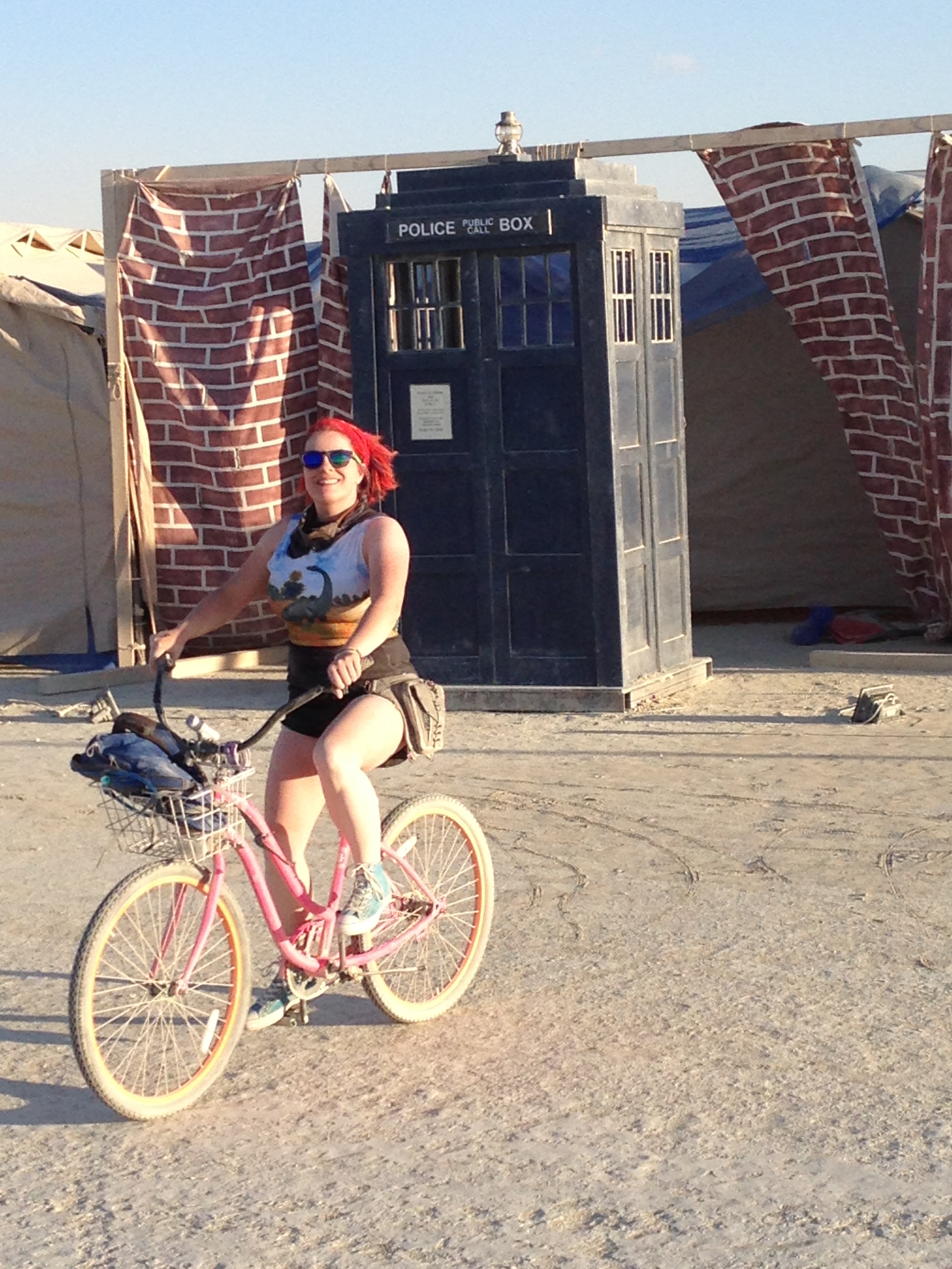 """Well, let's make the best of it.  Pretend I just biked out of the TARDIS."""