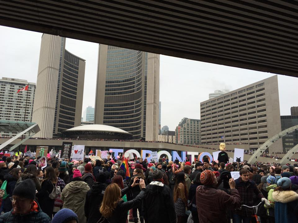 Women's March, Toronto Nathan Phillips Square, estimated turnout 60,000.