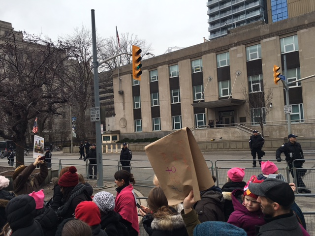 The negative space between the March and the U.S. Consulate, Women's March 2017 estimated at 60,000 in Toronto.