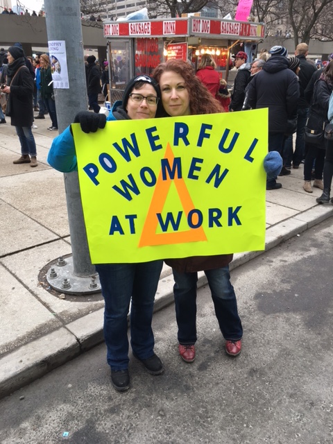 Powerful women at work, Women's March 2017, estimated 60,000 in Toronto.