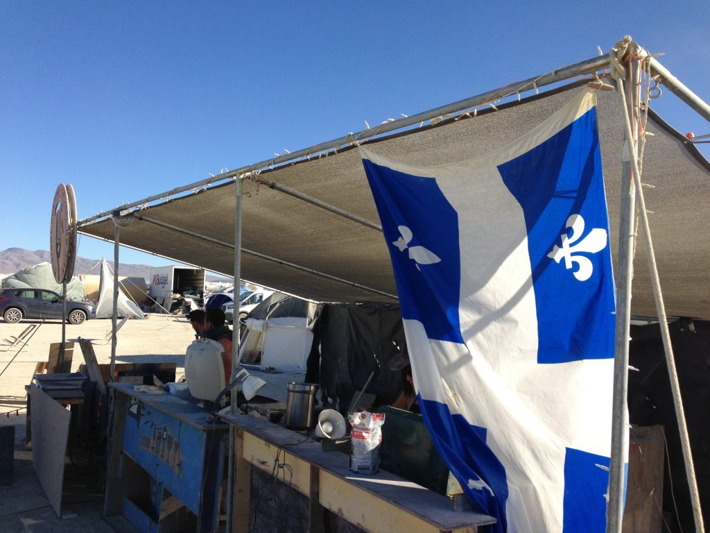The Quebecois flag. A welcoming sight far away from home.