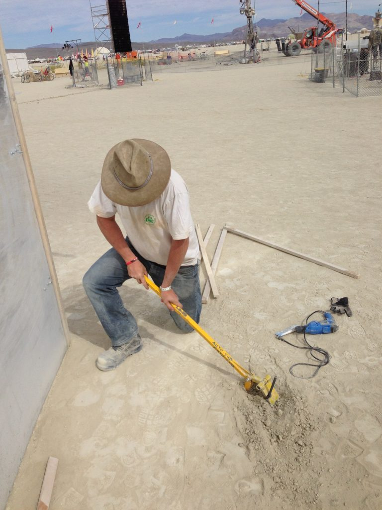 Marc shows the proper technique for removing rebar from playa.