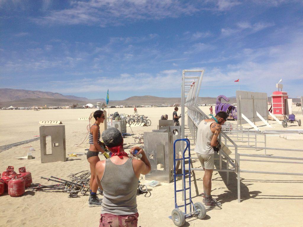 The hardy team working on Riskee Ball. l-r: AD, KZ, CH, AL, RL.