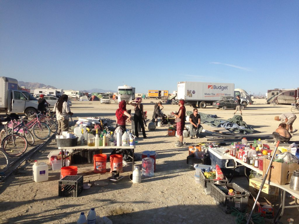 Camp, halfway through teardown.