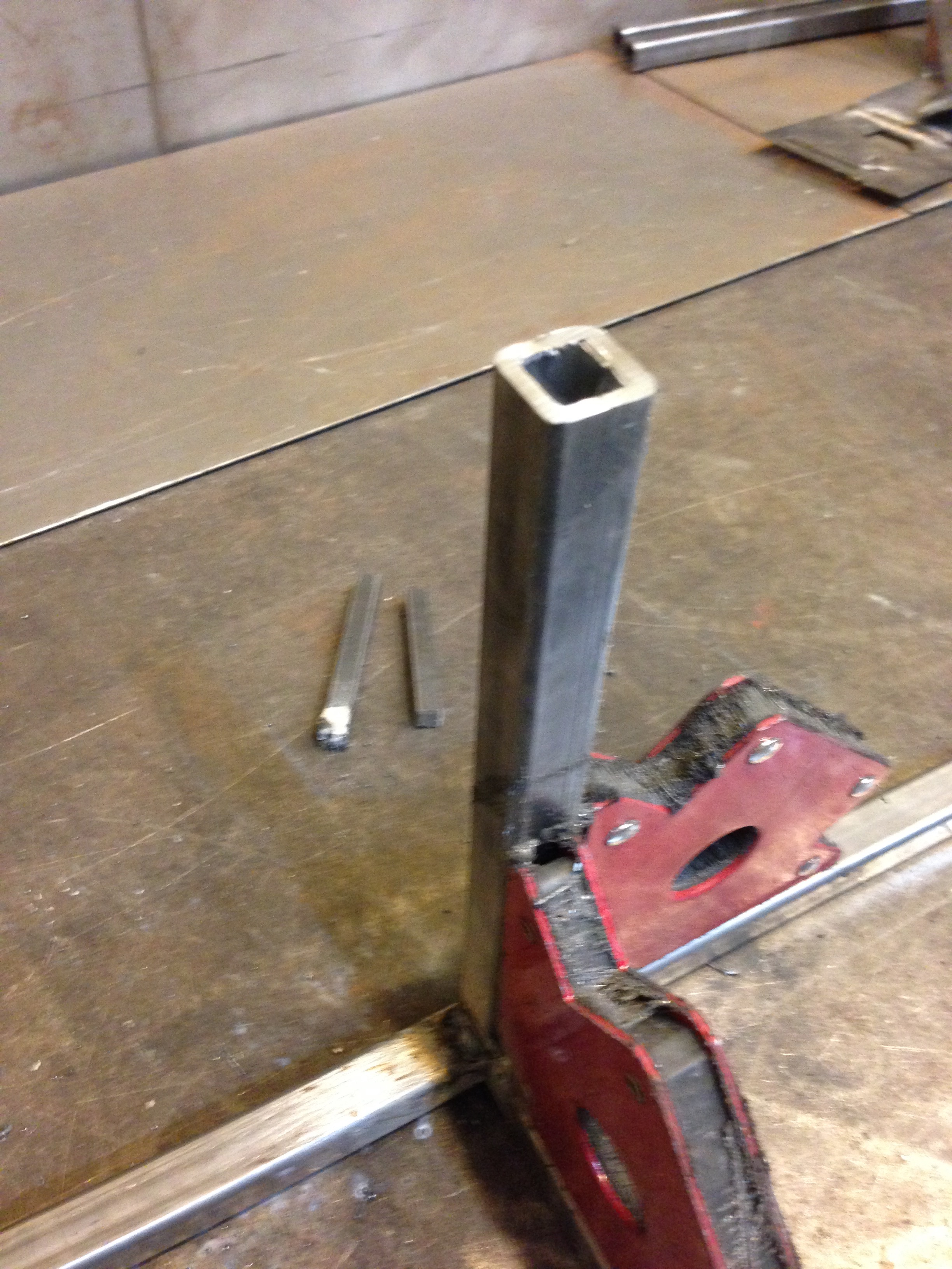 A closer look at a welding join.