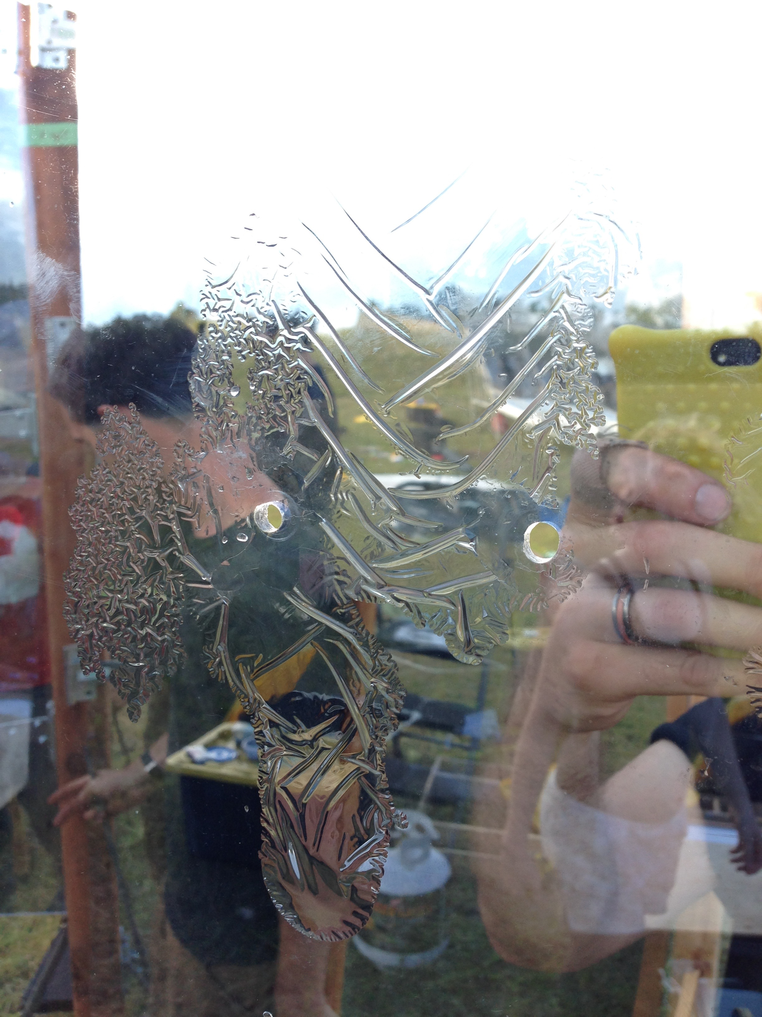 An example of the damage caused to two-way mirrors by water we think through the drilled holes.